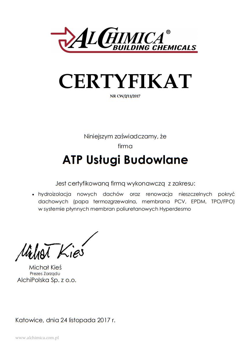 certyfikat hydroizolacje
